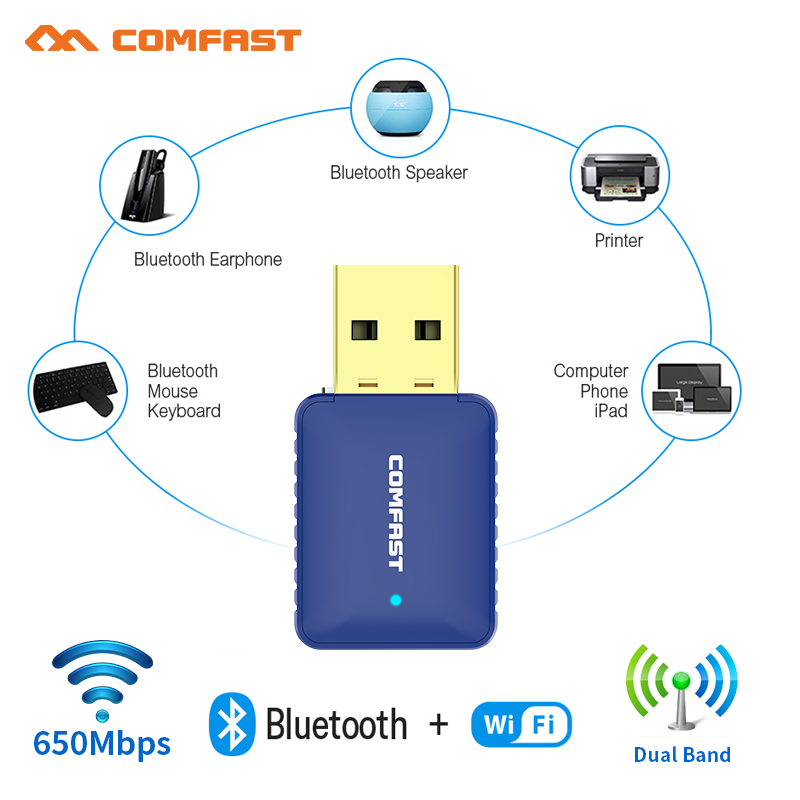 USB WiFi Bluetooth 4.2 Adapter 650Mbps Dual Band 2.4/5Ghz Wireless External Receiver Mini WiFi Dongle For PC/Laptop/Desktop