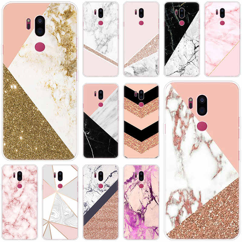 Luxe marmer Siliconen Case Voor LG G5 G6 Mini G7 G8 G8S V20 V30 V40 V50 ThinQ Q6 Q7 Q8 q9 Q60 W10 W30 Aristo 2 X Power 2 3 Cover