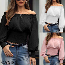 Femme 2019 Autumn Sexy Off The Shoulder Long Sleeve Tops Blouse For Women Shirt Casual One Shoulder Rib Tops