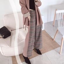 2019 Autumn Trousers New Womens Wear Chequered Wool Stitching LadiesHeavy High-waist Plaid Pants Women