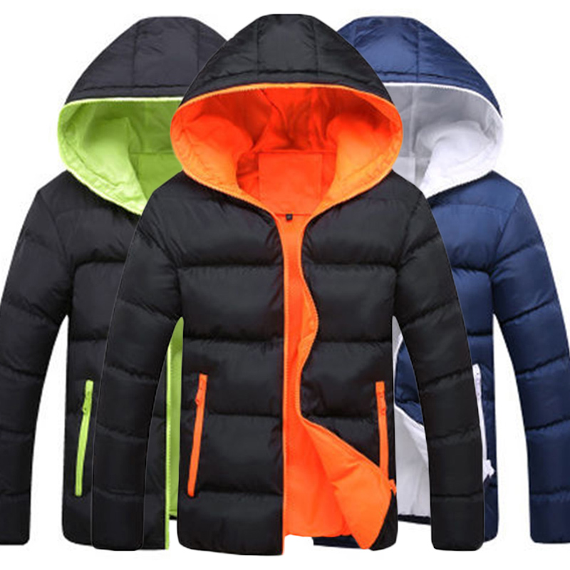 Hot Winter Outwear Padded Coat Zipper Warm Men Hooded Jacket  Fashion Thick Slim Boy Coat