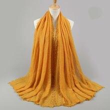 Foulard Hijab pour femmes, foulard musulman à franges froissées, perles de coton, écharpe, châles surdimensionnées, 180x95cm