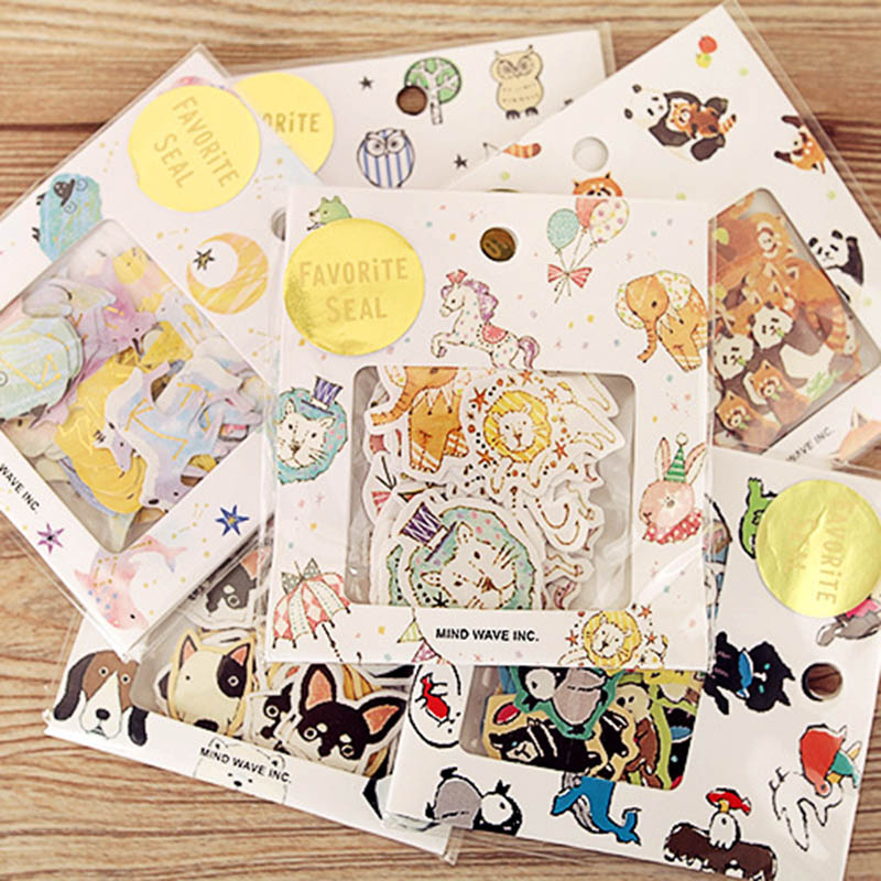 70 Pcs/lot Cute Kawaii Bear Owl PVC Stickers Cartoon Dog Cat Sticky Paper For Photo Album Diary Decoration School Students Gift