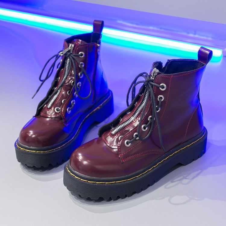 LMCAVASUN moda fermuar düz ayakkabı kadın yüksek topuk platformu PU deri çizmeler Lace up kadın ayakkabı yarım çizmeler kızlar