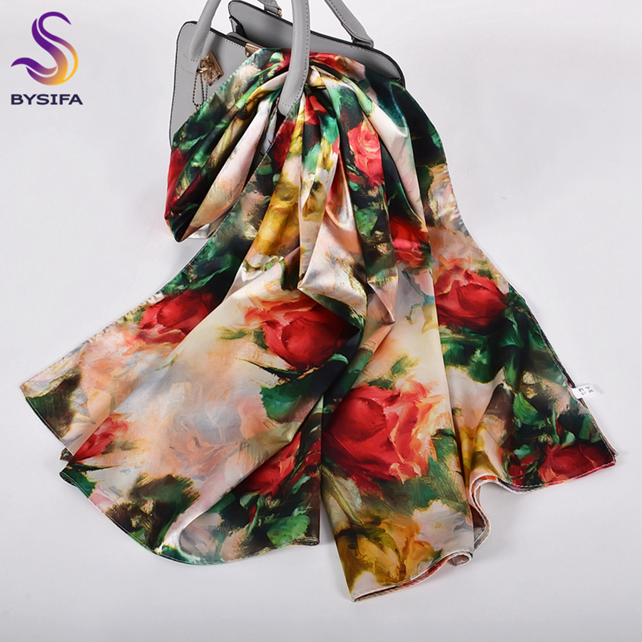 [BYSIFA]  New Ladies Satin Long Scarves Shawls Luxury Brand Red Rose Silk Scarf Cape 2020 Women Spring Scarves Headscarves