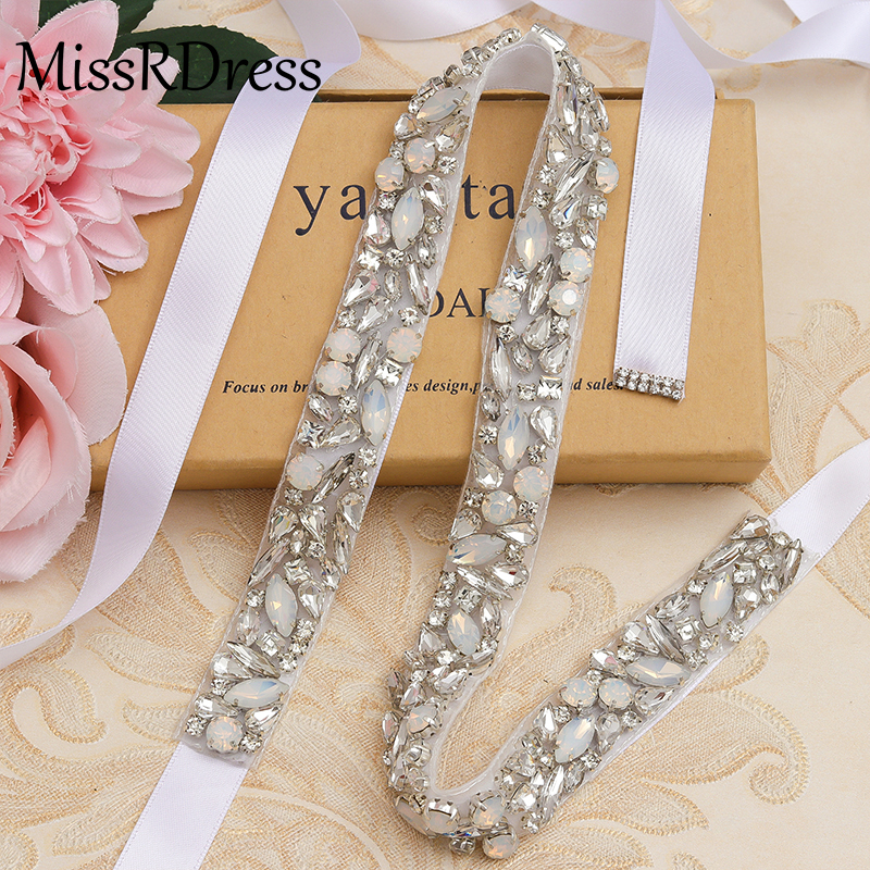 Image 2 - MissRDress Wedding Dress Belt Crystal Rose Gold Handmade Opal Wedding Rhinestones Bridal Belts Sash Wedding Diamond Belt JK920-in Bridal Blets from Weddings & Events
