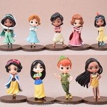Figurine princesse Disney Aladdin jasmine Moana, ensemble 9 pièces, 7.5cm, mini modèle, jouet pour enfants, cadeau