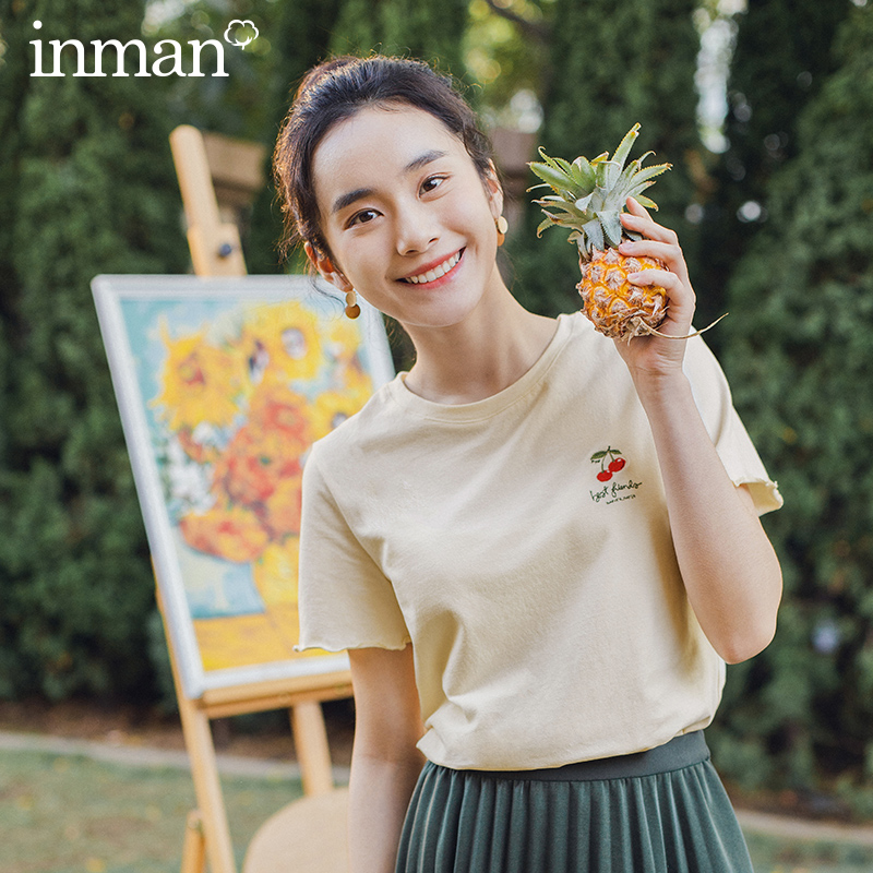 INMAN Retro Style 2020 Summer New Arrival Cherry Embroidered Sweet Cute Short Sleeve T-shirt