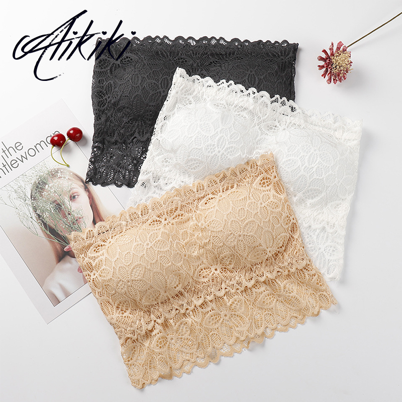 Women Lace Tube Top Strapless Push Up Bralette Crop Tops Women Seamless Bra Sexy Lingerie Strapless Bra Bandeau Off Shoulder Bra