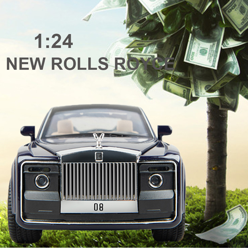 1/24 Diecast Alloy Car Model Rolls Royce Huiying Metal Toy Car Wheels Simulation Sound Light Pull Back Car Collection Kids Gift