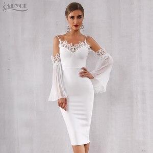 Image 3 - Adyce 2020 nuevo vestido de vendaje de Otoño de las mujeres Sexy Flare manga de encaje blanco Midi Vestidos elegante vestido de fiesta, de noche, de celebridad