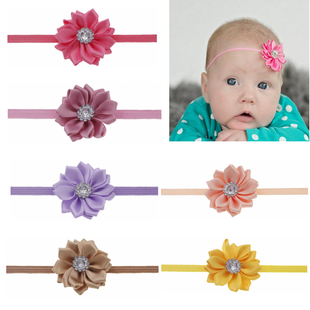 Baby Headband Ribbon Flower With Rhinestone Headband For Newborn Elastic Floral Hairbands Cute Baby  Girls Hair Accessories