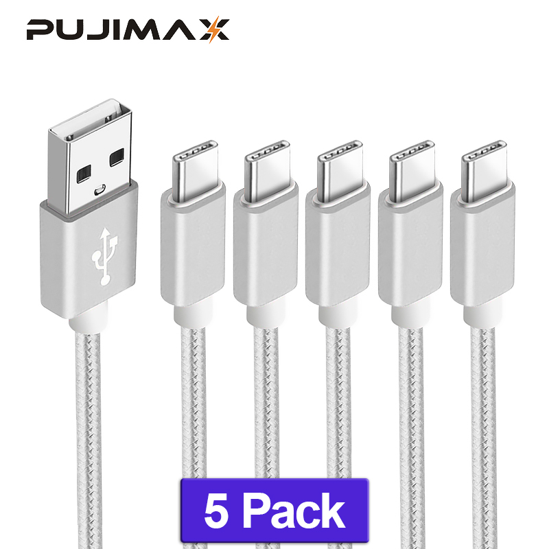 PUJIMAX 5Pack Type C Fast Charging usb c cable Type c data Cord Charger For Samsung S8 S9 Note 9 8 Xiaomi mi8 mi6 charger cable in Mobile Phone Cables from Cellphones Telecommunications