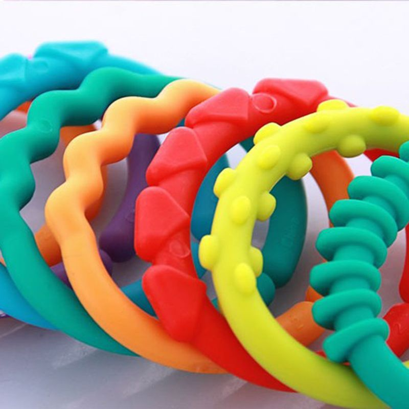 24 Pcs Kids Molars Ring Linkables Newborns Baby Grip Rainbow Teething Chain Toys AXYA