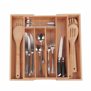 Expandable Kitchen Drawer Organizer for Cutlery and Utensil in Tray Style with Compartments
