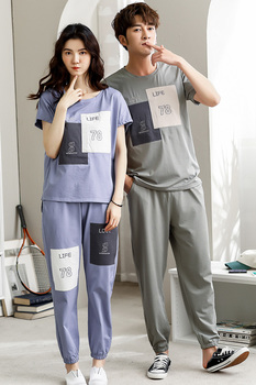 Couple's Sleep Wear Soft Thin Knitted Cotton Plus Size Short Sleeve T-shirt And Pant Sport Women's Pajama Set Men's Home Wear
