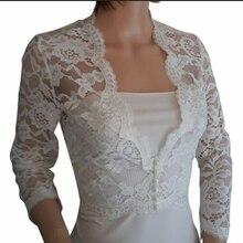 Ivory Plus Size Wedding Boleros Lace Bridal Jackets White Ivory V Neck 3/4 Sleeve White Bride jacket