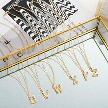 Дикие и свободные маленькие золотые металлические бамбуковые 26 букв Алфавит A-Z минималистичное ожерелье с подвесками с инициалами модная цепь со звеньями ювелирные изделия на шею