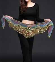 nuevo estilo cinturón de danza del vientre más nuevo cristal multicolor de seda cinturón de baile del vientre bufanda de cristal