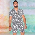 Summer Men's Beach Casual Short Sleeved Shirt Suit Shorts Printed Fashion Sports Set Men Two piece set Male Outfit 2021 New