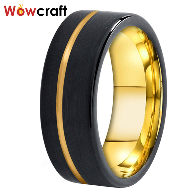 Black and Gold Mens Womens Tungsten Carbide Ring Wedding Band Matte Finish Pip Cut  Comfort Fit Offset Grooved Gift Anniversary