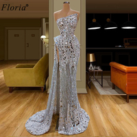 Shiny Pearls Long Cocktail Dresses 2020 Mermaid Strapless Crystals Prom Dresses Woman Party Night Formal Evening Gowns High Cut