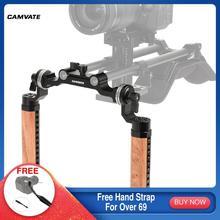 CAMVATE 2 pieces Wooden Handgrip with 15mm Rod Clamp & M6 ARRI Rosette Mount For DSLR Camera Shoulder Mount Rig Support System