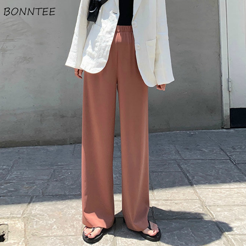 Pants Women 2020 Summer Cool Loose Thin Elegant High Elastic Waist Female Long Wide Leg Pant Daily Straight Newest Korean Capris
