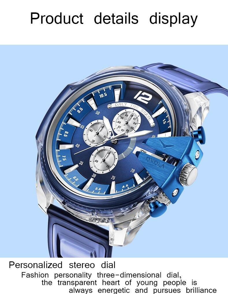 luxo ilusão silicone banda relógio de quartzo