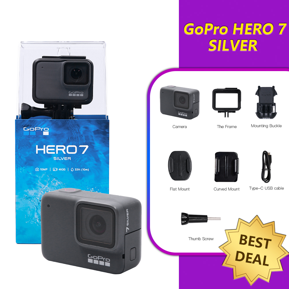 GoPro HERO 7 Silver Waterproof Digital Action Camera with Touch Screen 4K HD Video 10MP Photos Cam Sport go pro 1