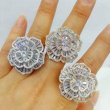 GODKI luksusowe bagietka CZ Camelia kwiat odważne pierścionki z cyrkonie 2020 kobiety biżuteria na przyjęcie zaręczynowe wysokiej jakości