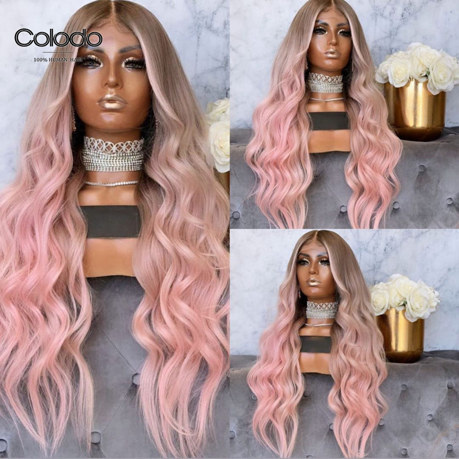 COLODO 613 Highlight Wig Preplucked Pink Human Hair Wig with Baby Hair Brazilian Remy Ash Blonde Ombre Lace Front Wigs for Women image