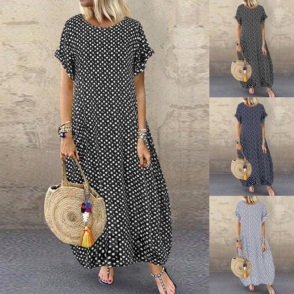 Beach Dress Women Short Sleeve Polka Dot Shirt Dress Long Maxi Dress Sundress Plus Saida De Praia Vestido De Festa De Praia