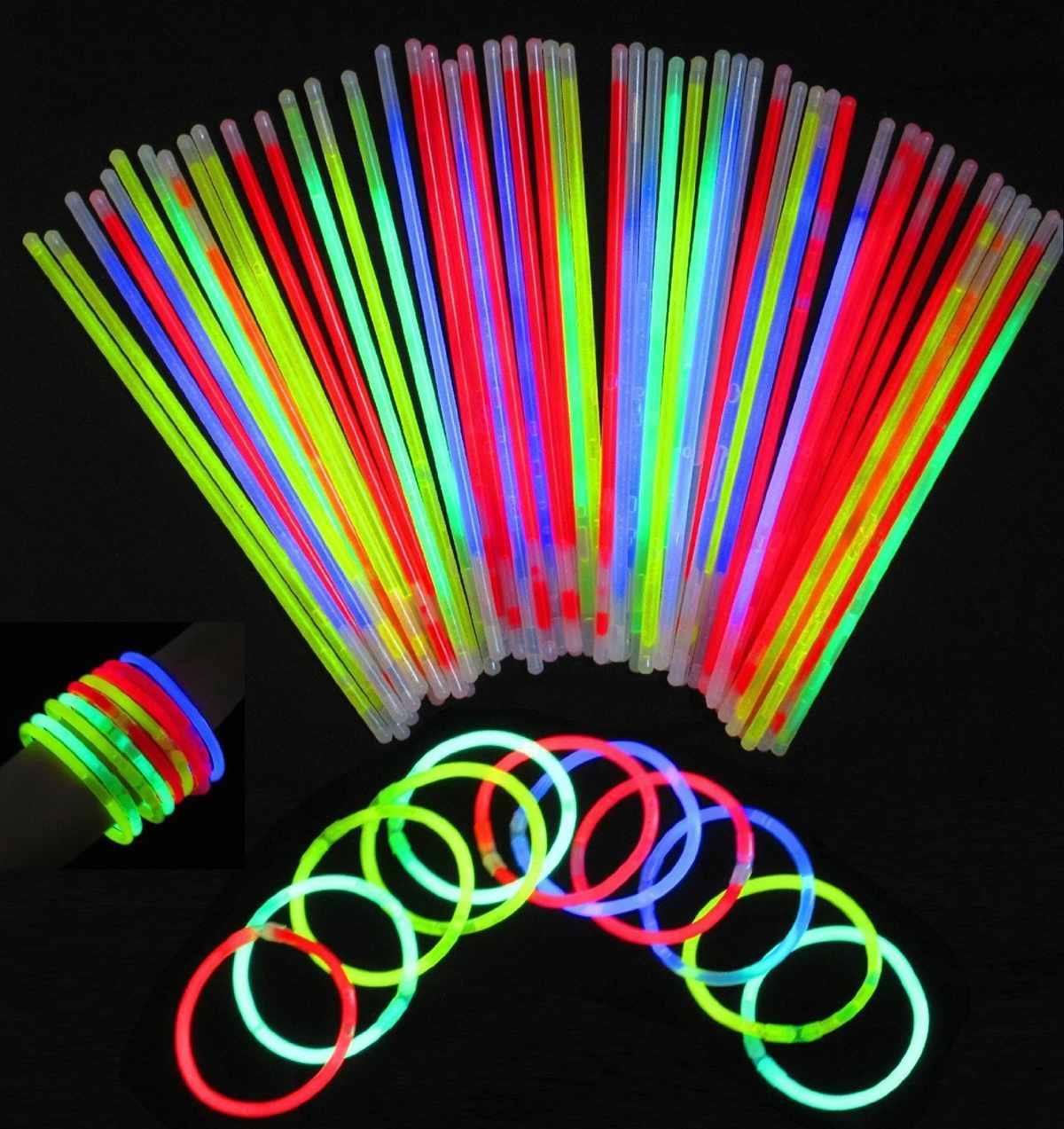 100pcs Multi Mix Color Glow Sticks Safe Light Stick Fluorescent For Event Festive Party Supplies Concert Decor Dark Party Lights