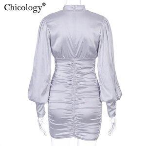 Image 5 - Chicology women scava fuori mini abito lanterna manica lunga aderente 2019 autunno inverno sexy elegante party club abiti casual