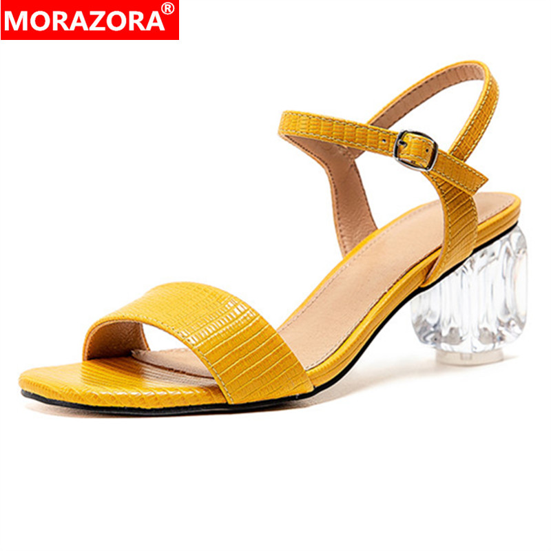 MORAZORA 2020 Newest Women Sandals Solid Colors Buckle Crystal High Heel Summer Sandals Simple Party Shoes Woman Big Size 43