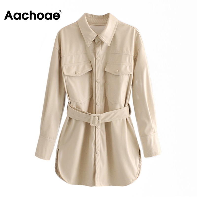 Aachoae Women Solid PU Leather Jacket Pockets Sashes Decorate Coat Female Turn Down Collar Ladies Tops Outerwear Chaqueta Mujer