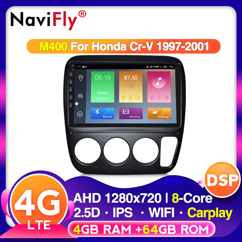 NaviFly Android10 Eight Core 4G RAM 64G ROM Voice Control For Honda CRV 1997-2001 Car Audio Wifi Gps Multimedia Player Dvr