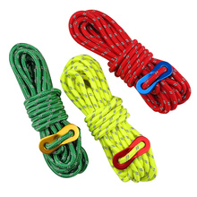 4m Reflective Paracord Outdoor Camping Tent Wind Rope 4mm Sun Shelter Awning with Aluminum Alloy Buckle Adjuster Wigwam