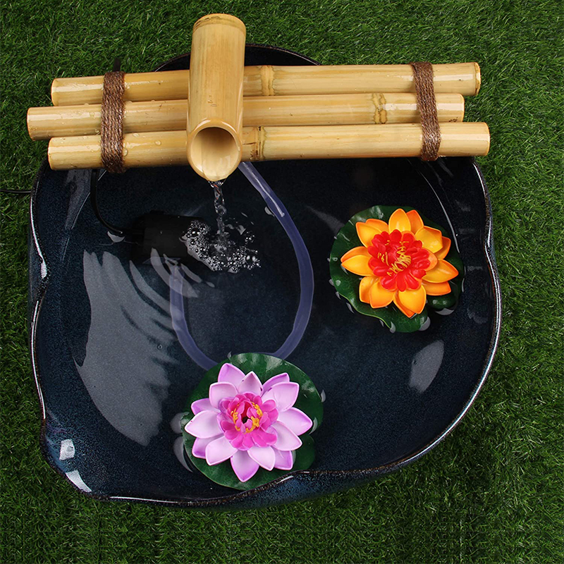 "Bamboo Water Fountain For Yard Indoor/Outdoor Fountain 12"" Wide Three-Arm Style Base Fountain Zen Garden Split Resistant Bamboo"
