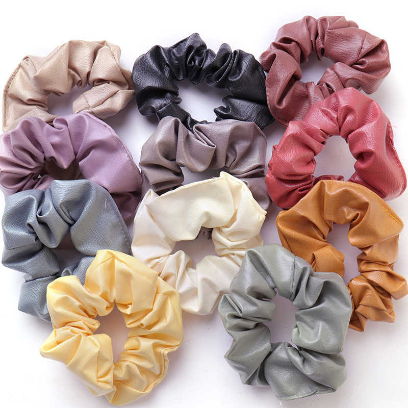 fashion New pu Leather scrunchie Creative solid hair rope Color Retro hair accessories Large hair bands Ponytail Holder women