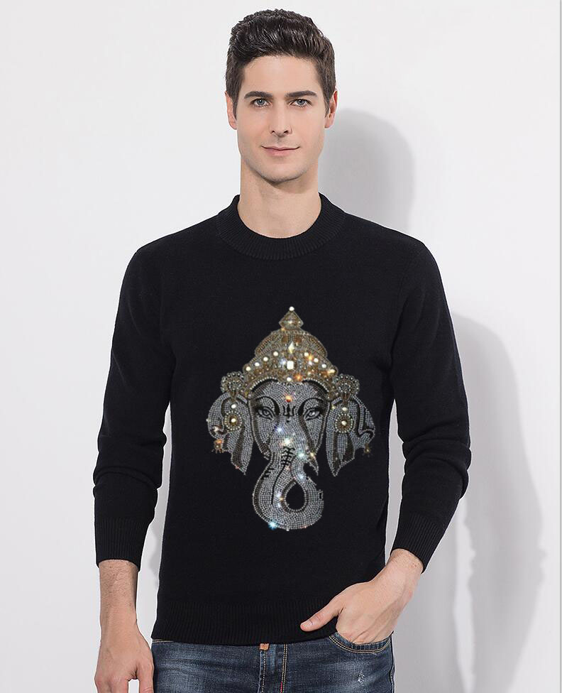 Mens Cotton Sweater Pullovers Men O-neck Sweaters Hot Drill  Black Autumn  Male Diamond Stone Knitting Clothing Black M-2xl New