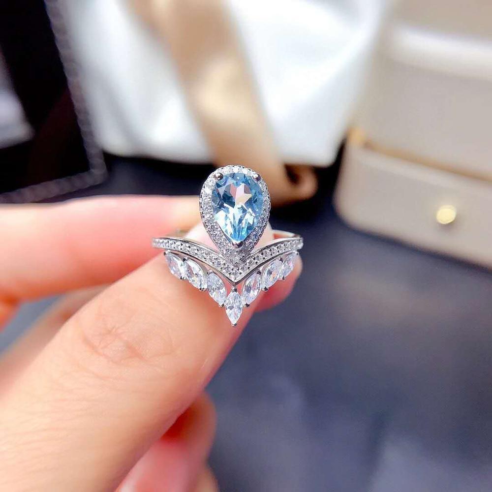 Женское кольцо из серебра 925 пробы, с камнями/аквамарином/топазом