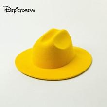 Autumn winter new Fashion leisure Pure color wide brim children's wool jazz hat fedora