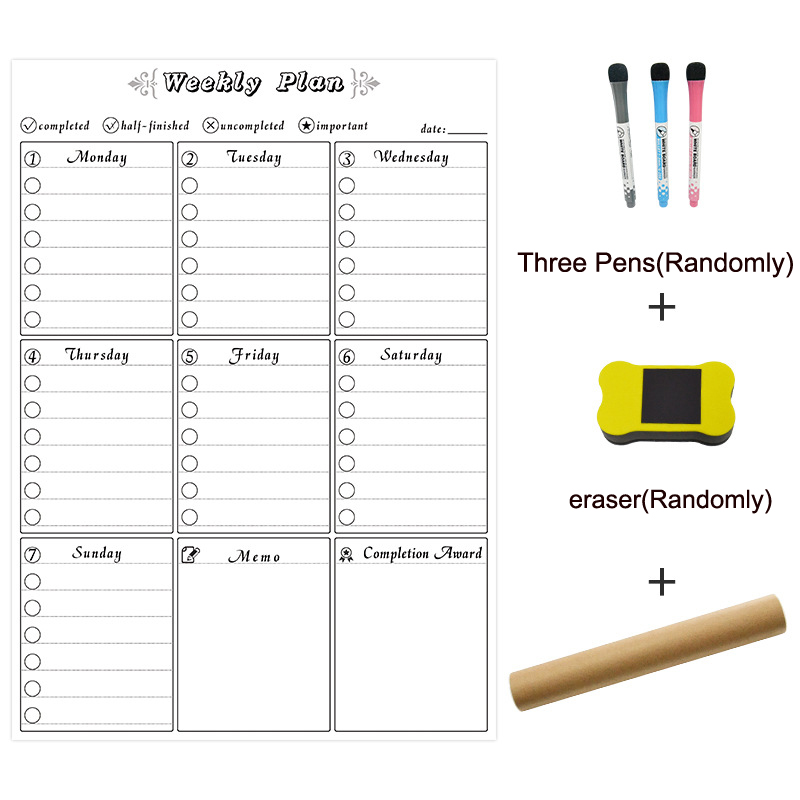 YIBAI 42*30 Weekly Plan Calendar Magnetic Whiteboard Deawing/Message/Writing Board Dry Erase For Home School Fridge Refrigerator