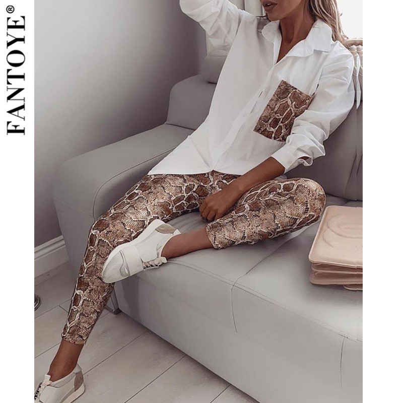 FANTOYE Casual Snake Printed Two Pieces Set Women White Blouse And Pocket Long Pants Female Long Sleeve Turndown 2 Pieces Set