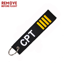 Remove Before Flight Captain Key Chain Jewelry Safety Tag Embroidery CPT Key Ring Chain for Aviation Gifts Luggage Tag Label