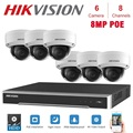 8CH Hikvision POE NVR видеонаблюдение с 6 шт. 8MP ip-камера Сетевая безопасность ночное видение CCTV системы безопасности наборы
