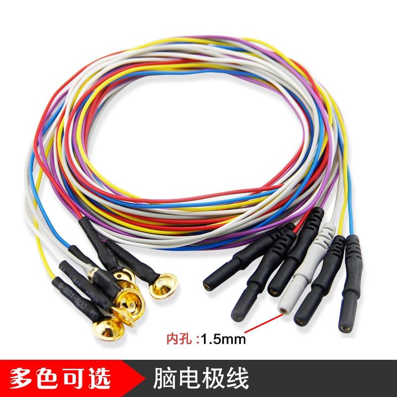 Electroencephalogram Electrode Gold Plate Electrode Brain Electrode Brain Conduction Wire EEG Disk Electrode Line Din1.5mm
