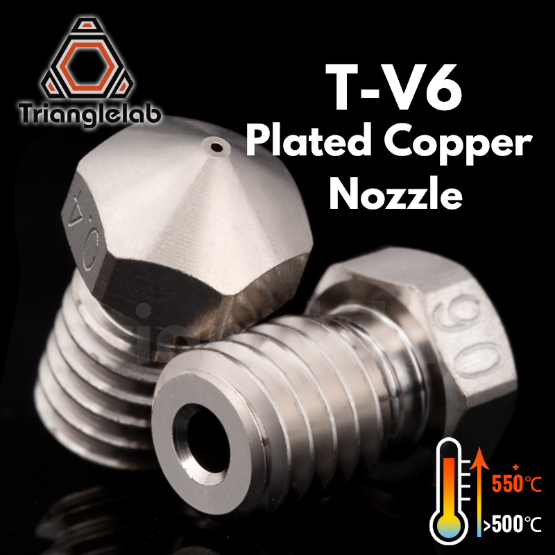 trianglelab T-V6 Plated Copper Nozzle Durable non-stick high performance for 3D printers hotend  M6 Thread  for E3D V6 hotend